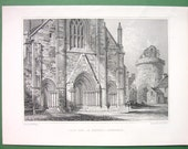 SCOTLAND Kirkwall St. Magnus Cathedral View of West End - 1852 Antique Print