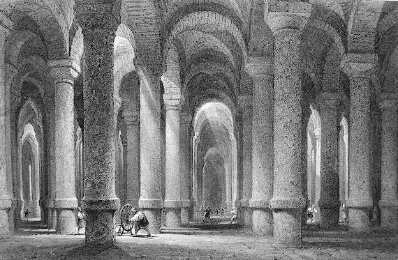 CONSTANTINOPLE Turkey Underground Cistern of Bin Bir Derek Istanbul - 1840 Antique Print by Thomas Allom