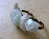 No. 23: Raw Aquamarine Stone Two Finger Adjustable Ring