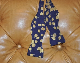 Bow Tie Adjustable Navy and Metallic Gold Leaf