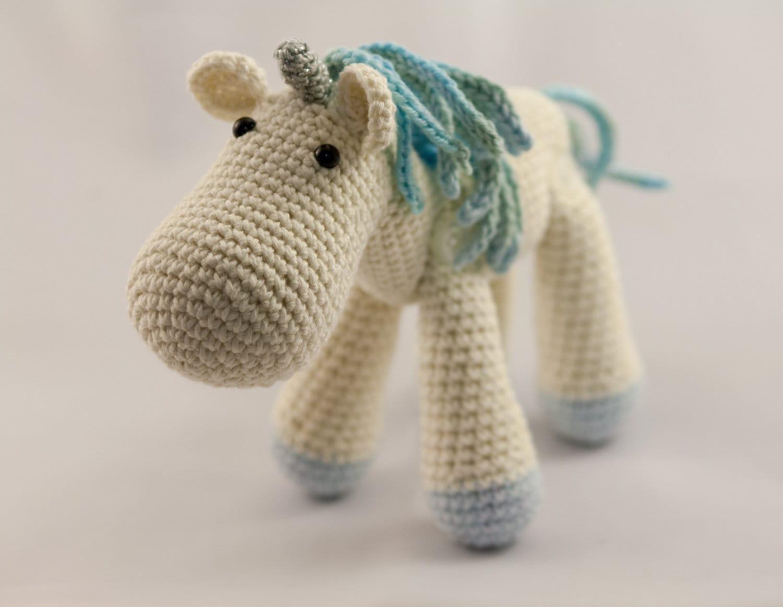 Amigurumi Unicorn Horn : Little White and Blue Jointed Amigurumi Unicorn