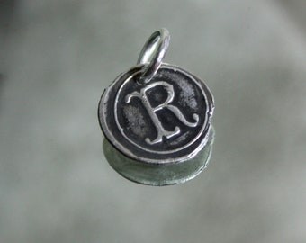 Sterling Silver Wax Seal Initial Charm