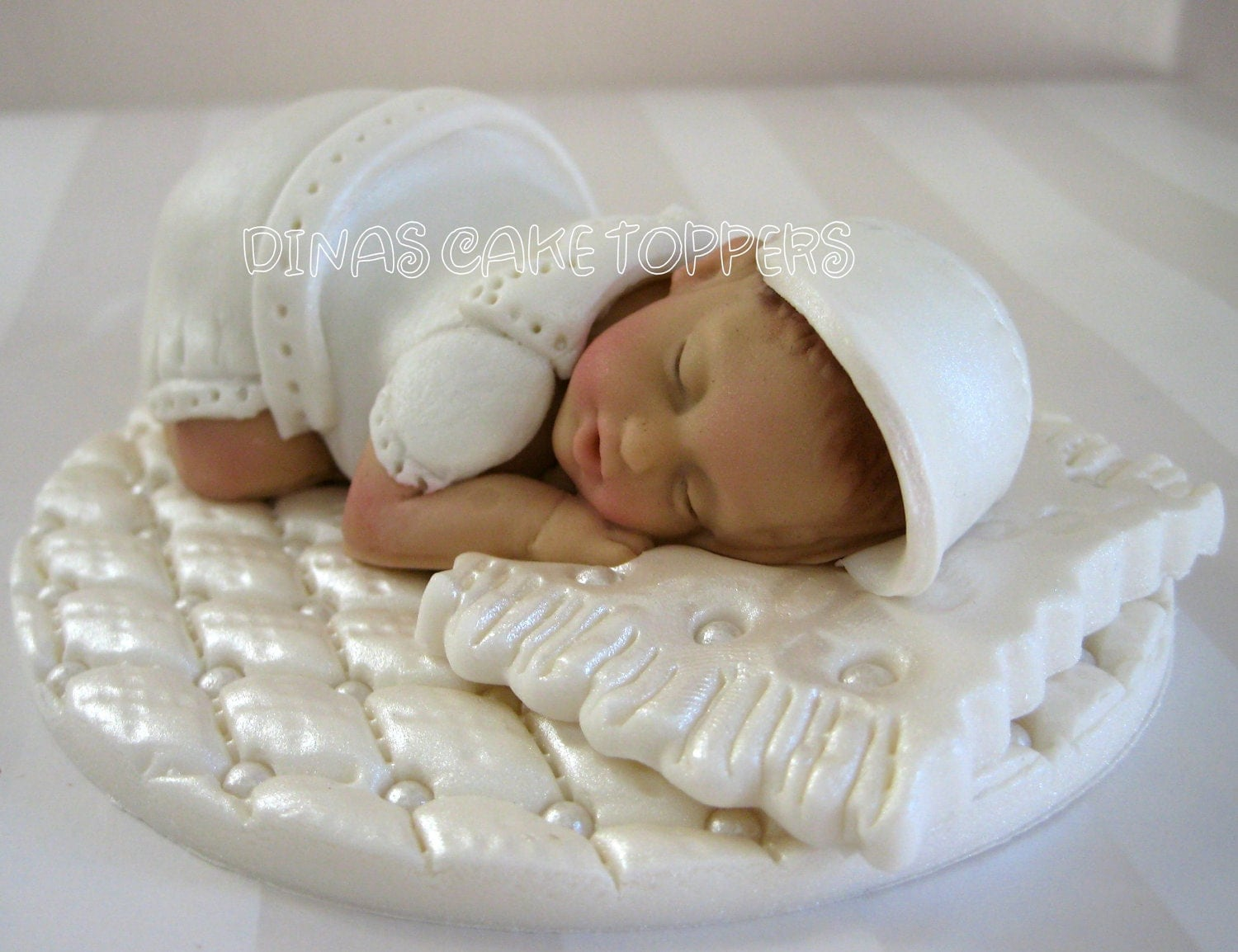 Cake Toppers Baby Christening : Baptism Christening Cake Topper white gown boy by ...