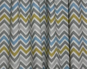 "Two Custom Drapes 50"" Wide by up to 108"" Long each,  Gray, Green and Blue Chevron Curtain Panels"