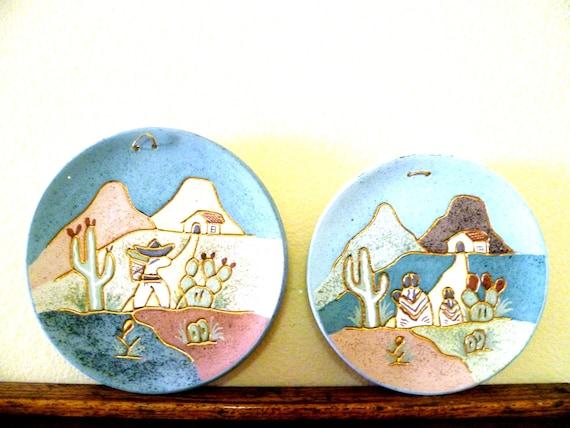 Vintage Pair Ceramica Gardiel Mexico Southwest-Style Wall Plates w 24K Gold Trim