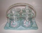 Glass Nursery Jar Set in Carrier, Dresser Organizer in Holder, Handled Tray, Baby's Room Decor