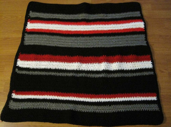 Black Red White Gray Striped Crochet Afghan Throw By