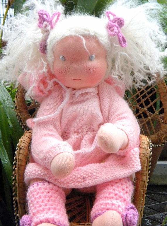 Clara,a Waldorf girl baby doll all hand made,stitch by stitch