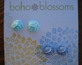 Tiny Sky Blue and Blue Flower Post Earrings 10mm - Two pair set