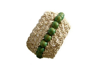 Macrame Bracelet, Cuff, Statement, Fibre Bracelet, Boho Jewelry, Green  Beige, Beaded, Wooden Beads, OOAK
