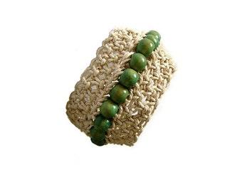 Macrame Bracelet, Cuff, Statement, Fibre Bracelet, Boho Jewelry, Green  Beige, Beaded, Wooden Beads, OOAK