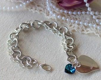 Heart Tag Silver Bracelet with Swarovski Crystal
