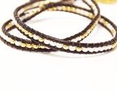 Beaded Wrap Bracelet in Gold & White with Black Leather
