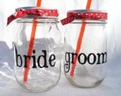 Country Western Bride and Groom Jars Wedding Toasting Glasses with Reusable (You Choose) BPA Free Straws