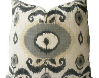 Decorative Designer Suzani Ikat Medallion Pillow Cover, 18x18, 20x20, 22x22 Grey, Throw Pillow