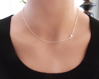 Small Sideways Cross Necklace, Sterling Silver, Cross Necklace, Petite Cross, Religious Jewelry, Celebrity Inspired