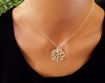 Large Tree of  Life  Necklace, One (1) Initial Necklace -  Silver Bronze Plate,  Yoga Necklace, Personal Initial