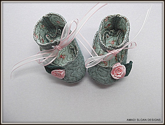 Baby Shoes Slippers Booties Flats Shabby Chic Rosebud Accents Babies First Shoes