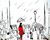 City Girl in Red Rain Coat - Black White Red - Art Print
