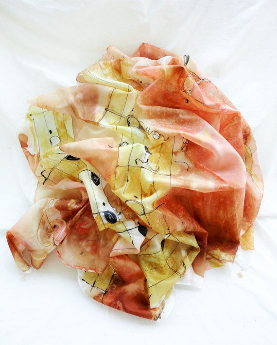 Large Scarf. Hand Painted Big Silk Shawl Wrap with 4 Gems. Yellow, Peach Silk Shawl. Musical Delight. 67x35in. (170x90cm). Ready to Ship.