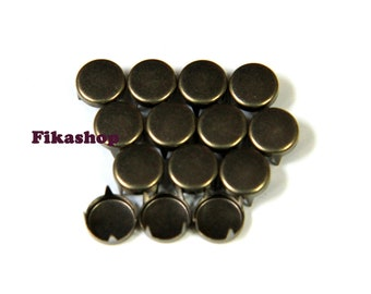 20% Off Clearance SALE: 9mm 50pcs Brass flat head round studs / HIGH Quality -  Fikashop