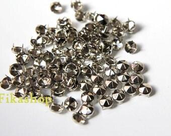 12mm 50pcs Silver conical hexagon studs / HIGH Quality - Fikashop