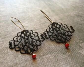 Boho Scroll Filigree Earrings - Black