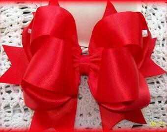 Red Satin Bow...Red Satin Hair Bow....Satin Hair Bow...Girls Hair Bow...Toddler Hair Bow...Infant Hair Bow..Satin Bow...Satin Headband