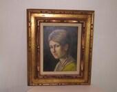 vintage Portrait, signed oil painting, 17x20