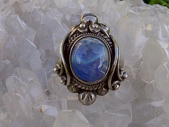 Art Nouveau Rainbow Moonstone Ring , Size 7 1/2 in .925 Sterling silver, an Antique treasure to behold. Free Shipping USA