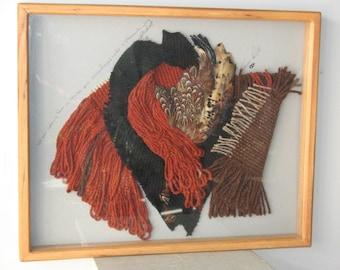 Fiber Art Assemblage - Fiber & Feathers - Retro - Fiber Art