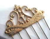 Vintage Ornate Gold Tone Hair Comb