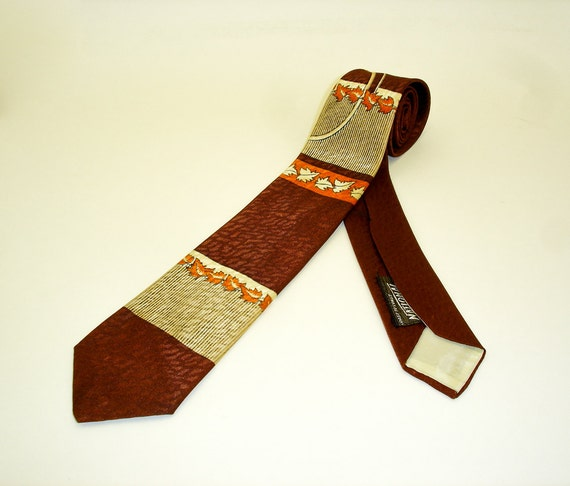 1940s Deco Autumn Leaves Tie Mens Vintage 40s Swing Era Copper Brown Necktie with Orange Fall Leaf Designs by National Shirt Shops