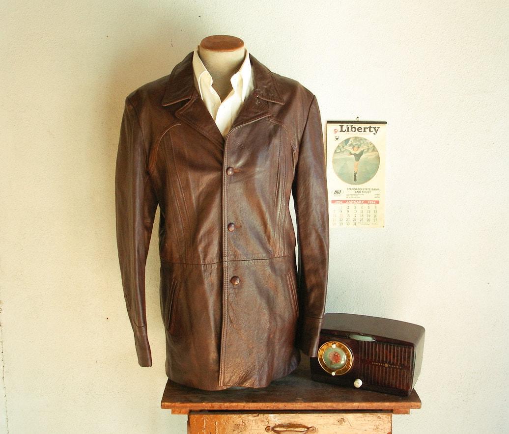 70s Mens Leather Car Coat Vintage 1970s Disco Era Brown Winter