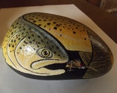 Brown trout painted rock with Hopper fly