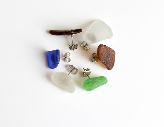 Seaglass Stud Earrings- Set of 6 Mix n Match- Multicolored Beach Glass
