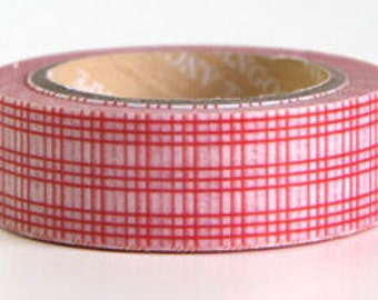 Japanese Washi Tape Roll- Red Lattice