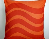 "Marimekko Pillow Cover in Silkkikuikka Fabric with Zipper in Orange and Red, Size 18"" by 18"""
