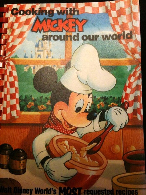 "Disney World Cookbook ""Cooking with Mickey Around Our World"" -Vintage cookbook Circa 1986-Disneyana Collectible Book"