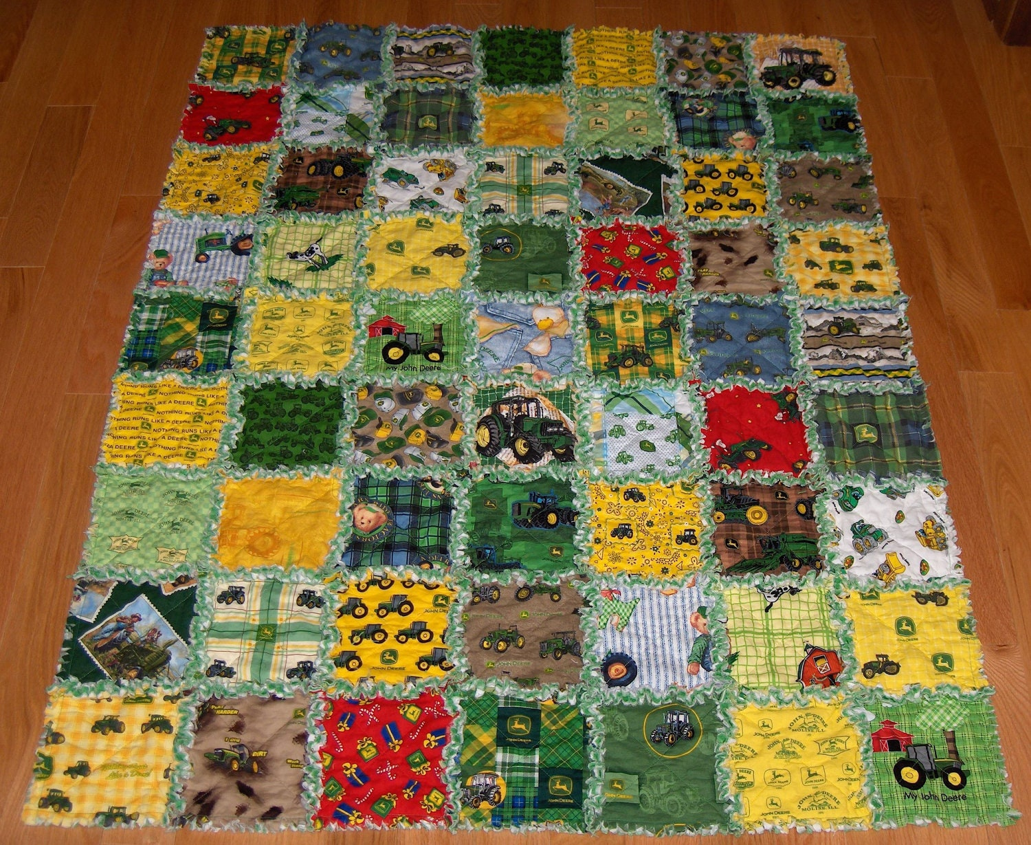 Rag Quilt 32 Different John Deere Fabric Lge 45 X 57 By