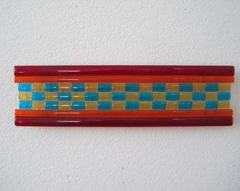 "Neutron Beam - Fused Glass Wall Art - 3""x12"""
