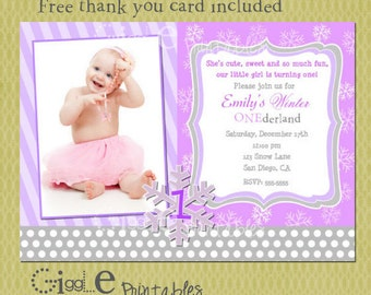 Winter Snowflake Birthday Invitation - FREE thank you card included