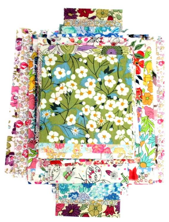 Liberty Fabric Scrap Bag Patchwork Applique Quilting 50 nr Tana Lawn Pieces