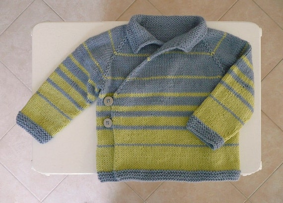 Hand knitted, striped crossover baby cardigan in blue and yellowish green. Suitable for boy about 9-12 months.