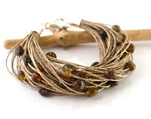 Amber Linen Bracelet Organic Gift Natural Baltic Amber Bracelet Summer Fashion Dark Amber - KARUBA