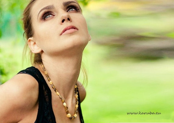 Natural Amber Necklace Amber Jewelry, Yellow Green Spring Finds Fresh Eco Fashion Honey Gold
