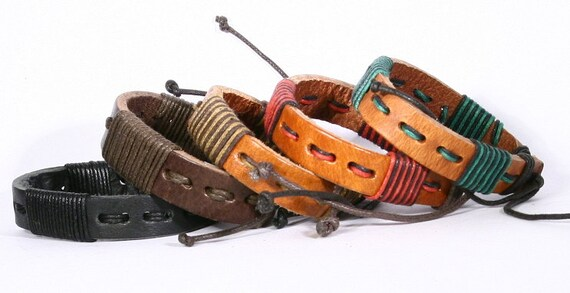 Braided Leather Bracelet, Braided Cotton Cord Leather Bracelet, Friendship or Party Favor. B508