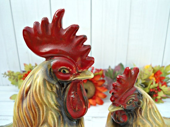 Vintage Rooster and Hen Figurines - Vintage Chickens Made in Japan 1950's