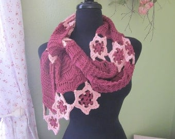 Dancing With the Fairies Scarf, Floral Crocheted Scarf, Knitted Scarf
