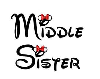 Disney Middle Sister Iron on Transfer Decal(iron on transfer, not digital download)